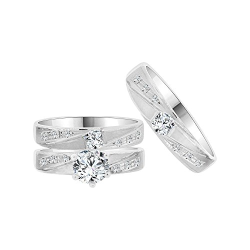 14k White Gold, Trio 3 Piece Wedding Ring Set Round Created CZ Crystals by GiveMeGold