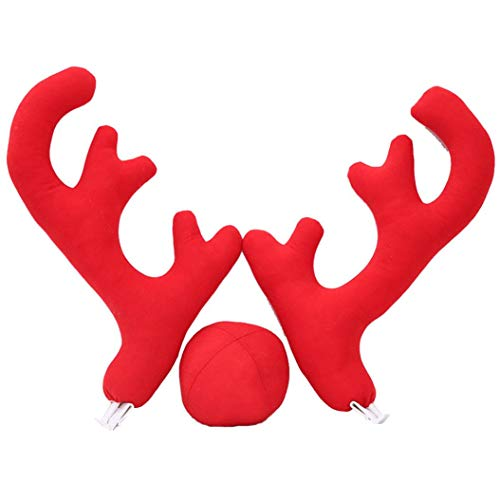 Christmas Reindeer Antlers Red Nose Set for Car