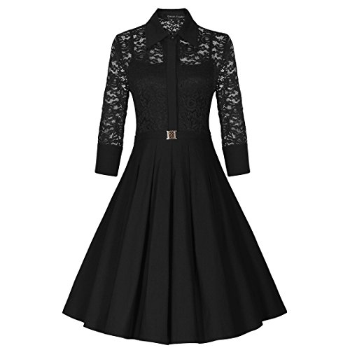 Sweetmeet Women's 50s Rockabilly Lace Xmas Party Prom Wedding Gust Dresses XXL Black