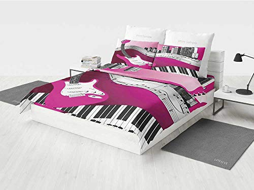Music Gothic Bedding Set Bass Guitar Keyboard Urban Rock Backdrop Rhythm of City Illustration Printing Four Pieces of Bedding Set Hot Pink Light Grey Black for $<!--$156.99-->
