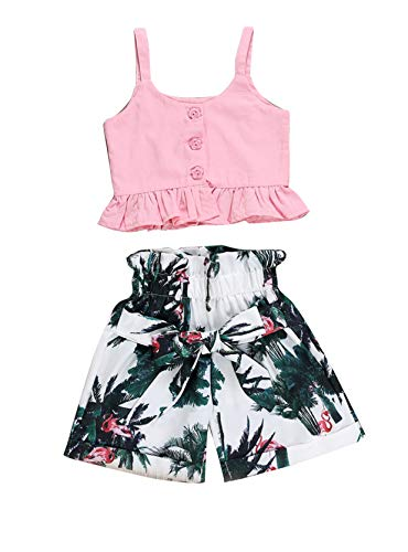 3PC Baby Girl Feather Vest Tops+Golden Dots Tassels Short Pants+Bowknot Headband (2-3 Y, Rainforest) -