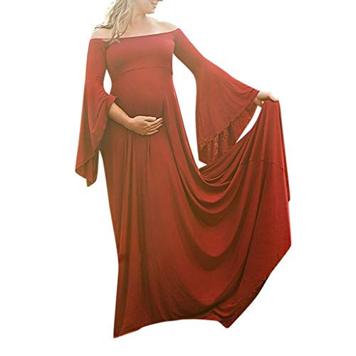 Forthery Women Pregnants Off Shoulders Long Sleeve Solid Dress with Belt Maxi Dresses for Photography(Red,XXXXXL=US 10) -