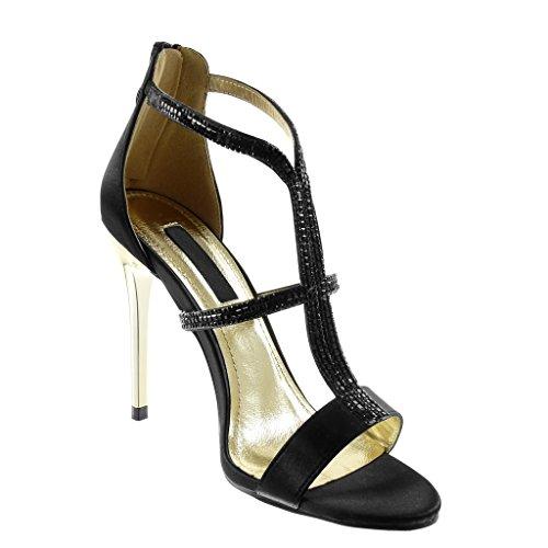 Aiguille cm 5 Bride Stiletto Femme Montante Sandale Noir Multi Chaussure Talon 10 Strass Mode Escarpin Haut Diamant Angkorly RgaOW
