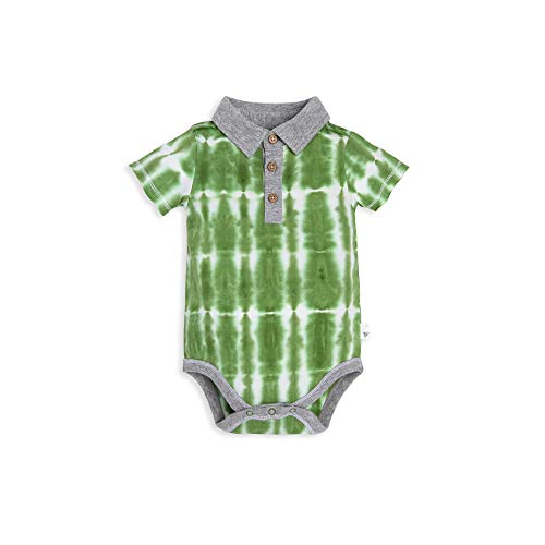 Burt's Bees Baby Baby Boys Short Long Sleeve One-Piece Bodysuits, 100% Organic Cotton, Palm Tree Polo, 12 Months