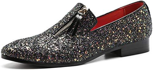 Men's Luxury Slip-On Leather Loafer Sequins Tuxedo Glitter Noble Shoes Textured Wedding Dress Shoes (6.5, Black)