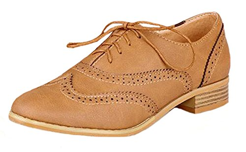 Round Apricot Up Chic Shoes Easemax Oxfords Womens Toe Lace ZAqxAwf6n