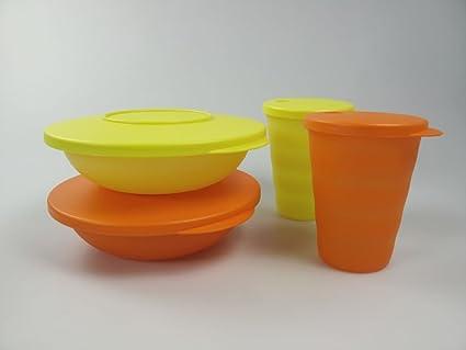 TUPPERWARE Junge Welle pequeña bandeja de cáscara + vaso infantil con pajita amarillo y naranja