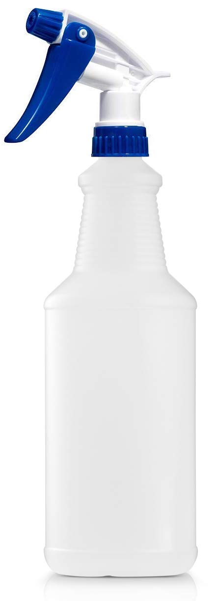 Empty Plastic Spray Bottle 32 Ounce, Professional Chemical Resistant with White-Blue Sprayer for Chemical and Cleaning Solution, Heavy Duty, Adjustable Head Sprayer from Fine to Stream