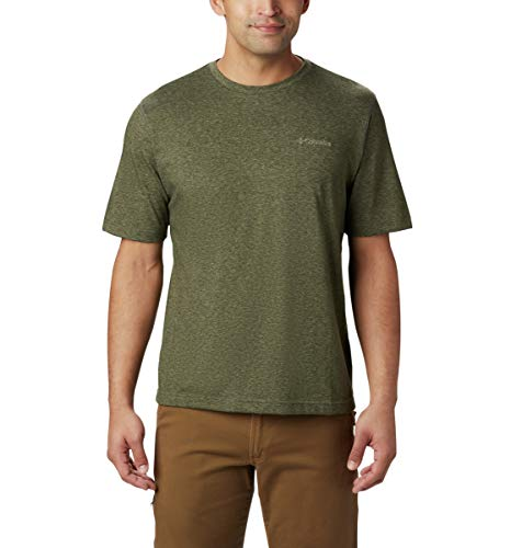 Columbia Men's Thistletown Park Crew Short Sleeve Tee, X-Large - Surplus Green Heather