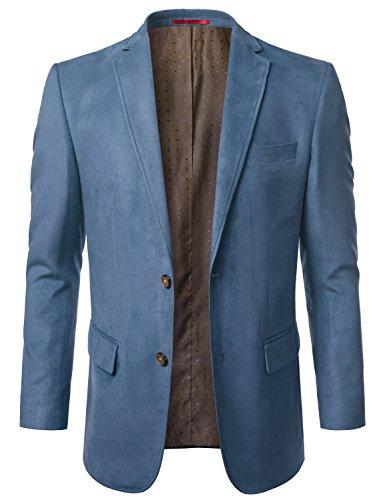 MONDAYSUIT Lightweight Suede Leather Look Blazer Cocktail Party BLUE Jacket