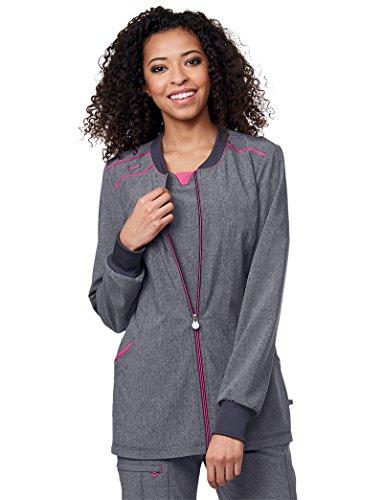 Cherokee Zip Front Warm-up Jacket' Scrub Jacket Heather Grey - Front Heather