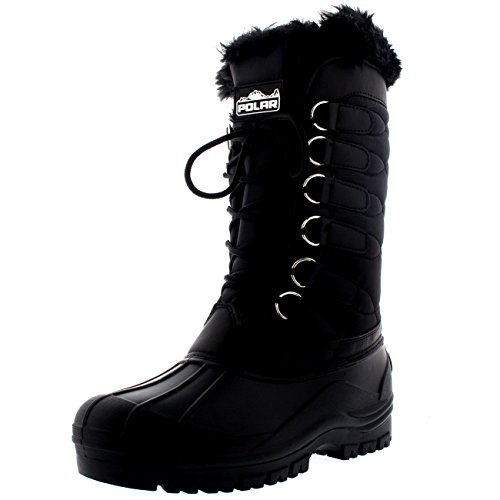 Womens Nylon Cold Weather Waterproof Snow Duck Winter Rain Fur Cuff Lace Boot - 9 - BLK40 YC0132