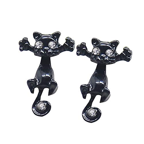 Punk Unique Fashion Womens Cute Lovely Leopard Cat Piercing Earring Crystal Ear Studs ()