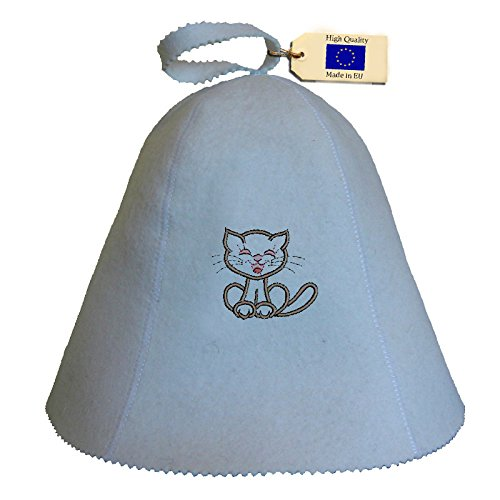 Allforsauna Sauna Hat Russian Banya Cap 100% Wool Felt Modern Lightweight Head Protection for Men and Women | Children PussyCat