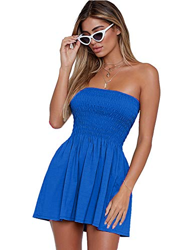 just quella Women's Summer Cover Up Strapless Dresses Solid Tube Top Beach Mini Dress (S, Blue)