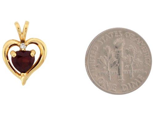 14ct Or Jaune Superbe Pendentif Coeur Flottant 1.7cm Grenat Et Diamant