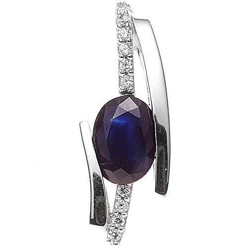JOBO pendentif en or blanc 585 10 brillantes bleu saphir et diamants 0,05 carat