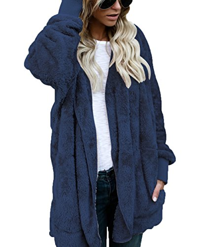 FOUNDO Women's Winter Fleece Cardigan Open Front Hooded Sherpa Plush Jacket Coat Blue M (Jacket Hooded Plush)