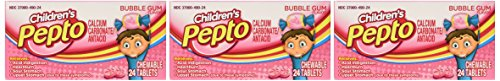 Pepto-bismol Children's Pepto, Bubble Gum Flavor Chewable Tablet, 24-Count Units (Pack of ()