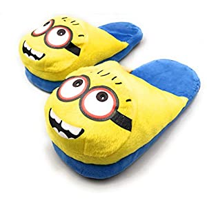 24×7 eMall Cute Plush Minion Shoes Free Size Indoor Slipper Funny Soft Plush for Adults Kids Teens Bedroom with Non-Skid Footpads
