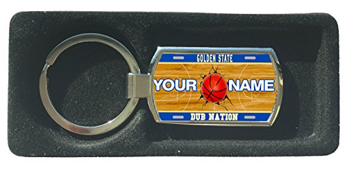 (BRGiftShop Personalized Dub Nation Custom Name Basketball Team Golden State License Plate Metal Keychain)