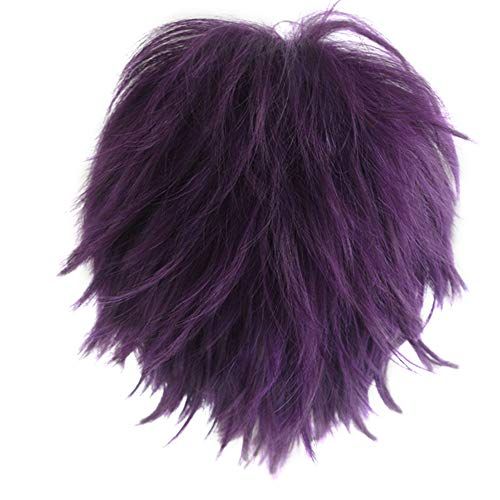 Probeauty Unisex Basic Short Hair Wig/Wigs Cosplay Party+Wig Cap (Deep Purple) ()
