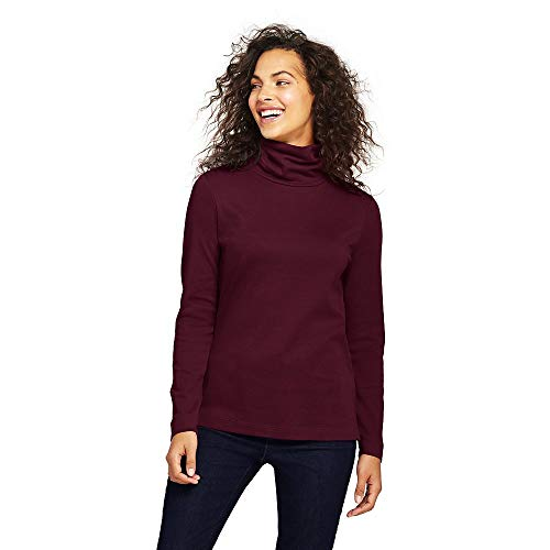 Mock Interlock Turtleneck Ladies (Lands' End Women's Petite Supima Cotton Turtleneck, S, Deep Claret)