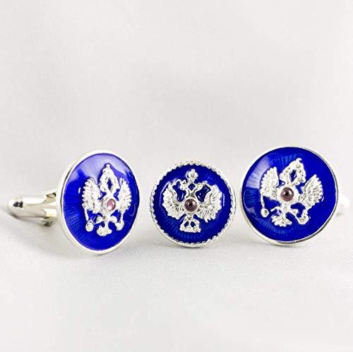 Cuff-Links Lapel Pin Russian Eagle Set Double Headed Eagle Blue Enamel Sterling Silver Garnet Gift For Men