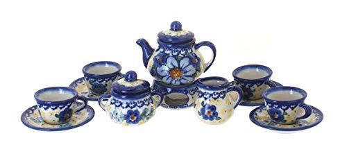 Blue Rose Polish Pottery Daisy Surprise Miniature Tea Set (Polish Pottery Miniature Tea Set)