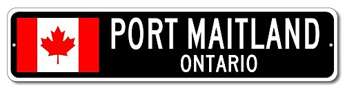 Canada Flag Sign   Port Maitland  Ontario   Canadian Custom Flag Sign   9 X36  Inches