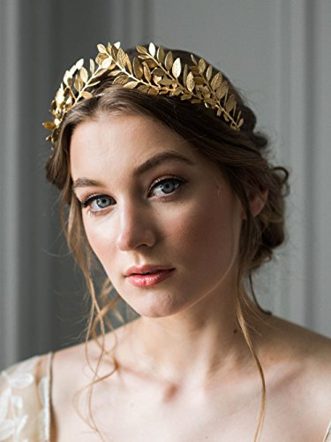 FXmimior Handmade Bridal Wedding crown Leaf Headband Women Crystal Tiara Headpiece