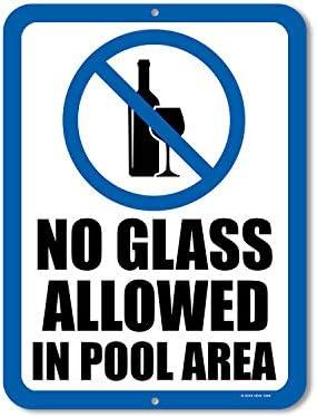 Honey Dew Gifts Pool-Schilder, kein Glas erlaubt im Pool Bereich, 22,9 x 30,5 cm, mit Zubehör