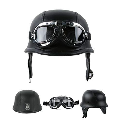 XFMT DOT German Style Motorcycle Half Helmet Open Face Crusier Leather Cap Helmet with Pilot Goggles M