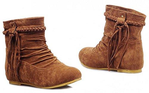 Vestido De Tacón Alto Con Borlas Con Flecos De Las Mujeres De Aisun Vestido De Tacón Bajo En Botines Planos Botines Zapatos Marrón