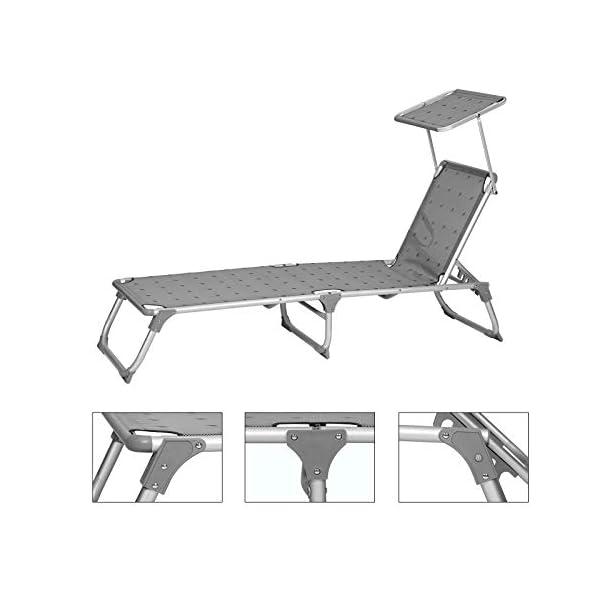 SONGMICS Sonnenliege, Liegestuhl, Gartenliege, Rückenlehne und Sonnendach verstellbar, klappbar, leicht, 55 x 193 x 31…