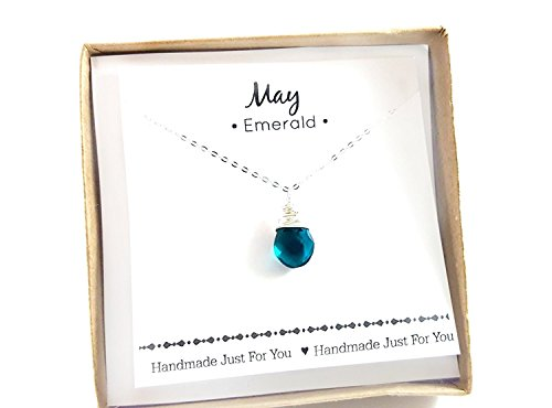 May Birthstone Emerald Quartz Necklace - Sterling Silver Briolette Teardrop Jewelry - Gift for Her -