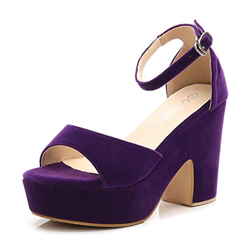 (Women's Open Toe Ankle Strap Block Heeled Wedge Platform Sandals Purple Velveteen US8 EUR39)