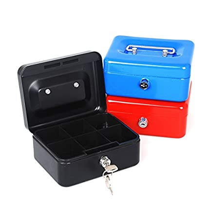 amazon com mini portable steel petty lock cash safe box lockable