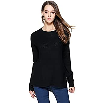 Locomo Women Girl Pullover Knit Sweater Top Crew Neck Long Sleeve FFK100 - Black - US 10-12