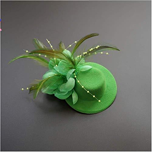 Negro Peluquero Ni Etapa Rendimiento Anuncios Pluma Verde Desfile Sombrero Peinado o Peinado Chica gxHa0qwFp7