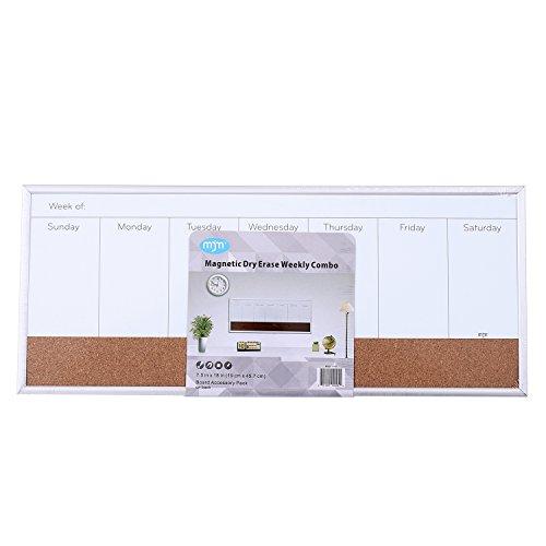 Dry Erase Weekly Calendar Board : Mjm magnetic dry erase cork weekly calendar board