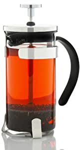GROSCHE YORK French Press Coffee and tea maker, 350 ml 11.8fl oz capacity, 3 cup (one coffee mug) size; All Stainless Steel filter (no plastic parts in press mechanism)