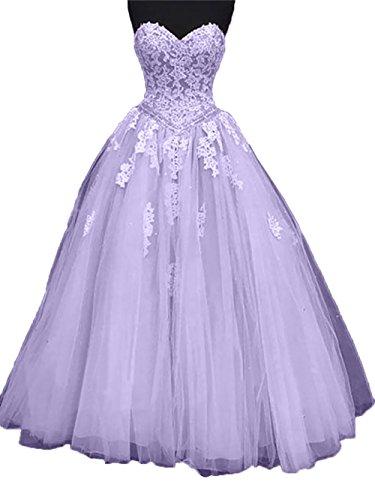 Charmant Damen Promkleider Rock Ballkleider Abschlussballkleider Spitze Lilac Abendkleider A Linie Prinzess Herzausschnitt drqxpfd