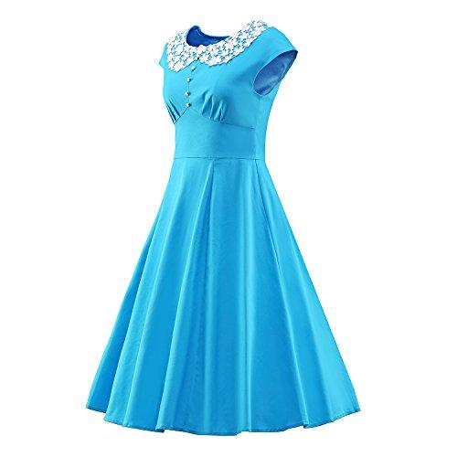 LUOUSE vestidos vintage con Muñeca cuello Rockabilly Cóctel Fiesta V063-Azul1