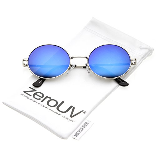 zeroUV - Classic Lightweight Slim Arms Colored Mirror Flat Lens Oval Sunglasses 50mm (Silver / Blue - Sunglasses Arms