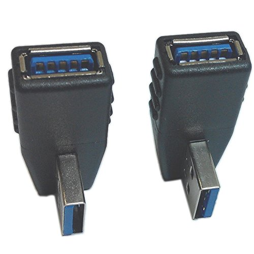2-Pack, USB 3.0 Vertical Left Angle and Right Angle Adapter USB 3.0 Male to Female 90 Degrees dapter Coupler Connector