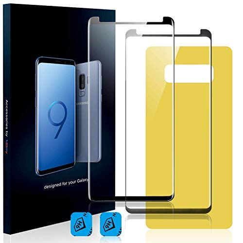 Homy Compatible UHD Screen Protector Samsung Galaxy S9 5.8 inch (not S9+) [2-Pack] - Free Back Cover & Camera Lens Cover. Made Full 3D Curved 9H Japanese Tempered Glass.