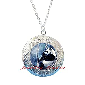 Charming fashion Locket Necklace?Panda Bear Pictures Glass Cabochon Locket Pendant Ball Chain Locket Necklace Jewelry Gifts?Animal Charm Locket Necklace?Bear Jewelry-HZ00220