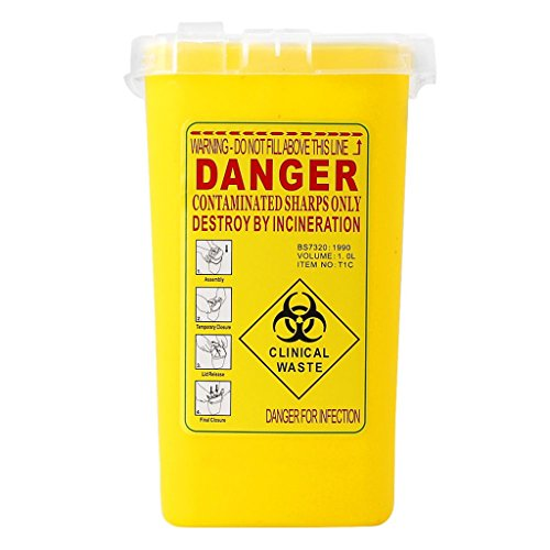 Flameer 1 Quart Plastic Sharps Container Biohazard Needle Disposal Tattoo Waste Bin Yellow ()