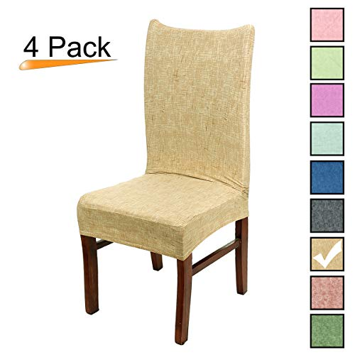 Stretch Dining Room Chair Covers Soft Spandex Seat Protector Removable Slipcover for Hotel Wedding Party Set of 4, Khaki